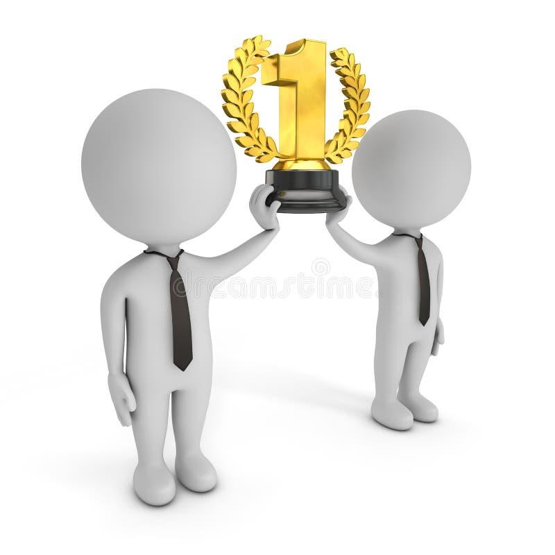 3d милые люди - команда-победитель с золотым трофеем иллюстрация штока