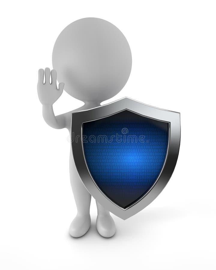 3d милые люди - предохранение от кибер иллюстрация штока