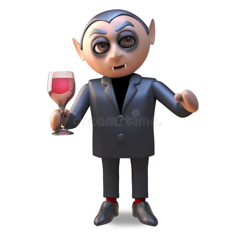 3d мультфильм вина крови Дракула испытывающего жажду вампира хеллоуина выпивая красного от стекла, иллюстрация 3d бесплатная иллюстрация