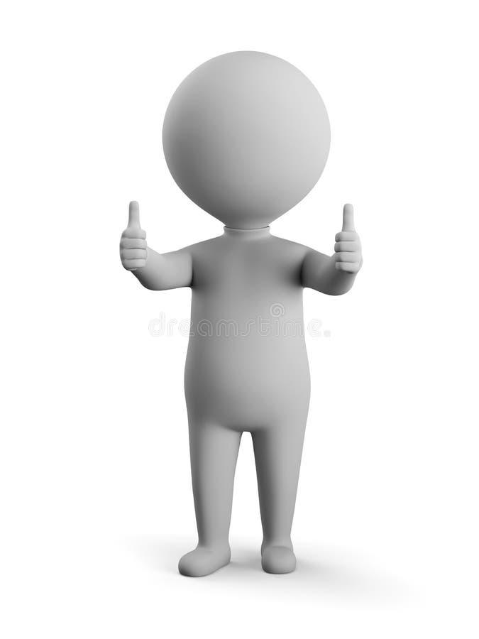 3D небольшой человек - двойные большие пальцы руки вверх бесплатная иллюстрация