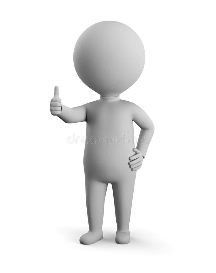 3D небольшой человек - положительное представление иллюстрация вектора