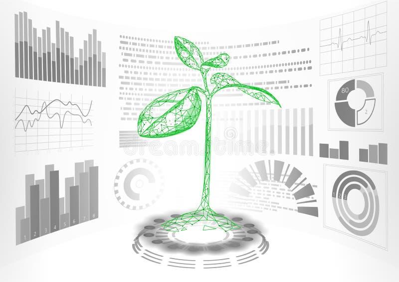 3D низкий поли дисплей зеленого растения HUD UI Будущая полигональная линия биология пункта треугольника конспекта решения пробле иллюстрация штока