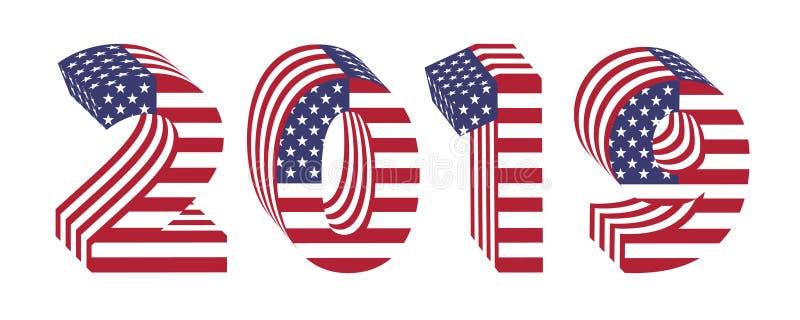 2019 3d номеров Нового Года американского флага иллюстрация штока