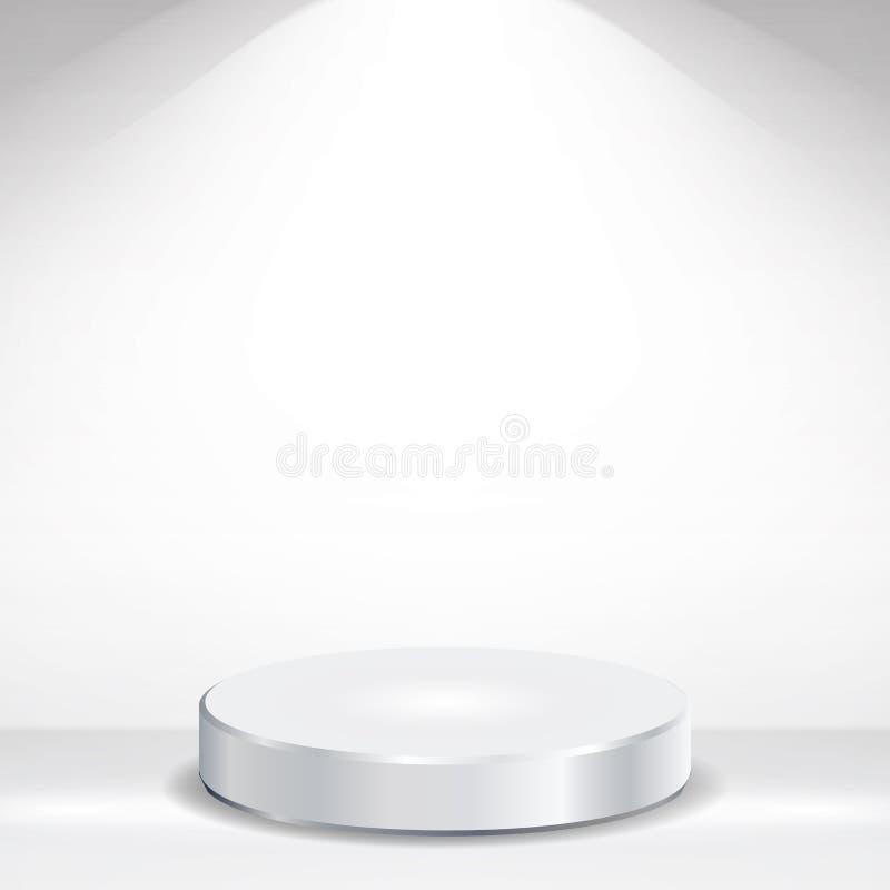 3d опорожняют вектор подиума Круглый пустой белый подиум на чистой светлой внутренней насмешке сцены вверх также вектор иллюстрац бесплатная иллюстрация