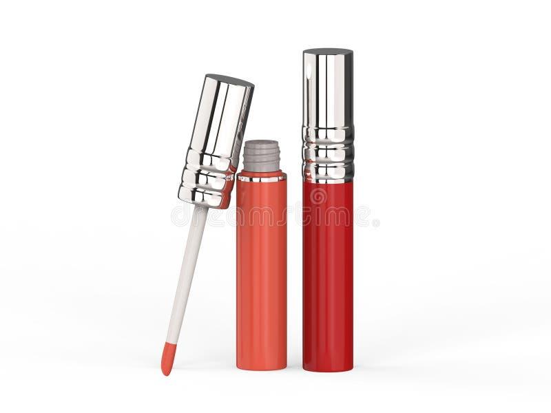 3D лоск губы иллюстрации 2 красный розовый бесплатная иллюстрация