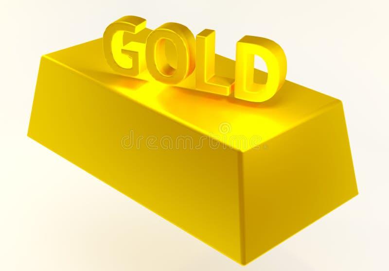 3d Отправьте СМС ` и слиток золота ` на белой предпосылке принципиальная схема финансовохозяйственная иллюстрация вектора
