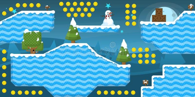 2D пакет Tileset игры льда бесплатная иллюстрация