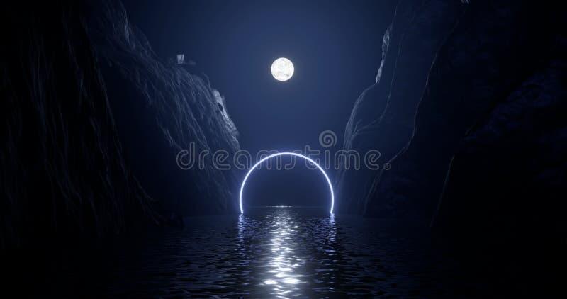 3d перевод, абстрактная предпосылка, космический ландшафт, круглый портал, розовое голубое неоновое свето, виртуальная реальность иллюстрация штока