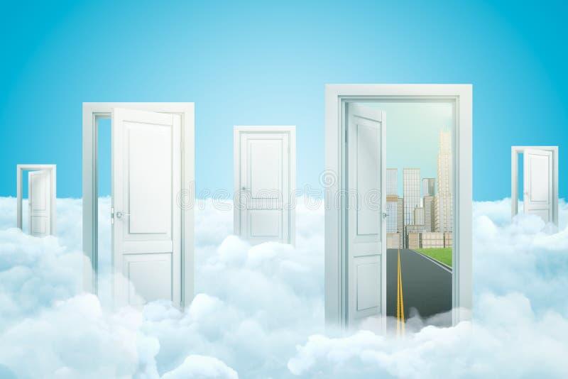 3d перевод 5 дверей стоя на пушистых облаках, одно отверстие двери на дорогу асфальта водя к современному городу с иллюстрация вектора