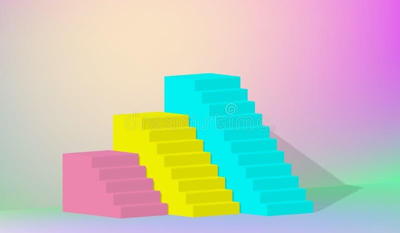 3d перевод, желтые голубые розовые лестницы, шаги, абстрактная предпосылка в сдобренных пастельных цветах, подиум моды, минималис иллюстрация вектора