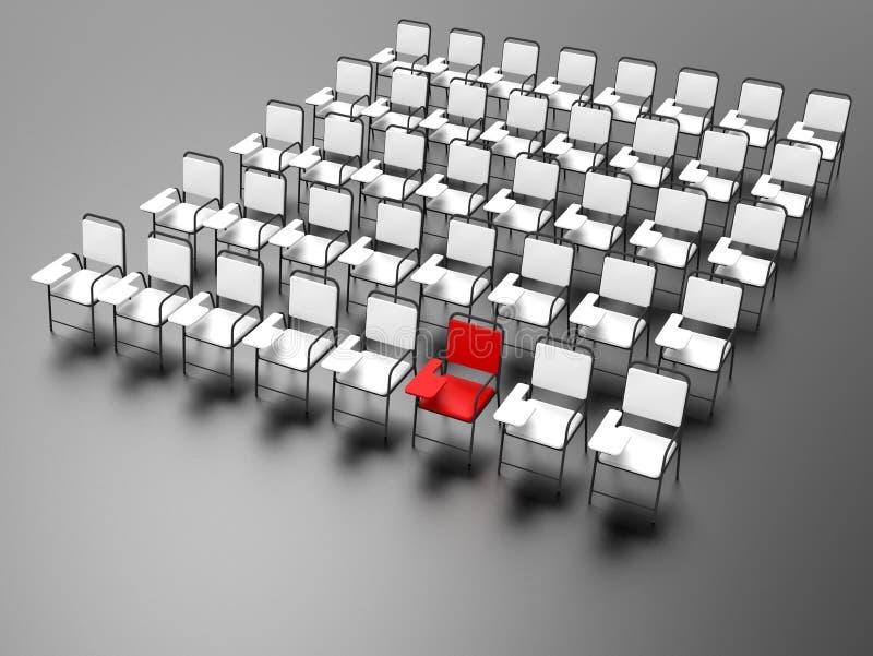 3D перевод - красное пятно в линии стульев иллюстрация вектора