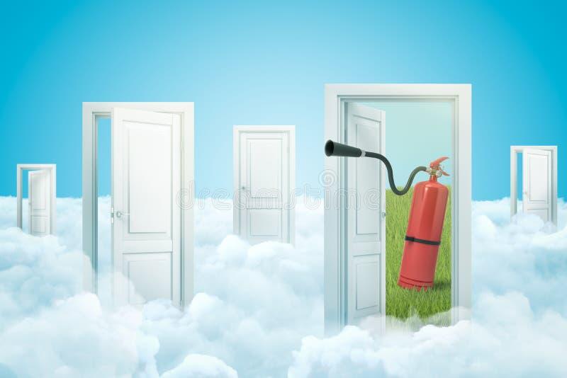 3d перевод набора входов стоя, что на белых пушистых облаках, одна дверь ведущая позеленеть поле с красным огнем иллюстрация вектора