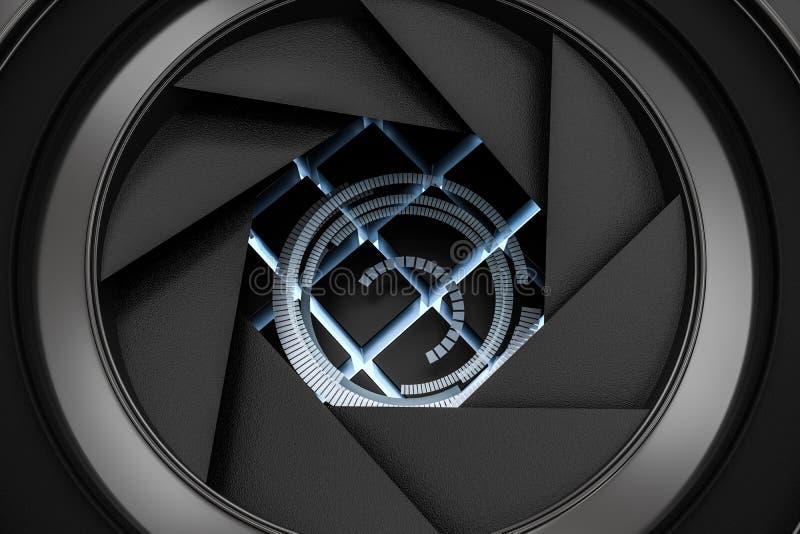 3d перевод, объектив фотоаппарата в темной предпосылке студии иллюстрация штока