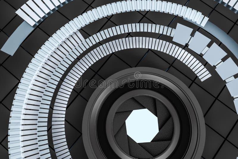 3d перевод, объектив фотоаппарата в темной предпосылке студии бесплатная иллюстрация