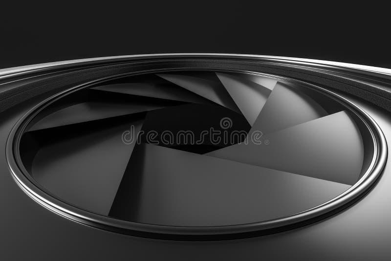 3d перевод, объектив фотоаппарата в темной предпосылке студии иллюстрация вектора