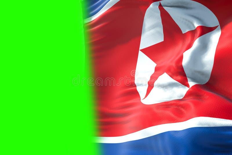 3D перевод, предпосылка ткани текстуры флага Северной Кореи развевая, бесплатная иллюстрация