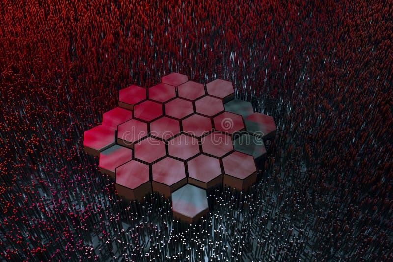 3d перевод, темная шестиугольная предпосылка, предпосылка научной фантастики бесплатная иллюстрация