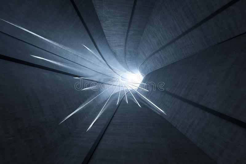 3d перевод, темный тоннель наук-небылицы, темная предпосылка бесплатная иллюстрация