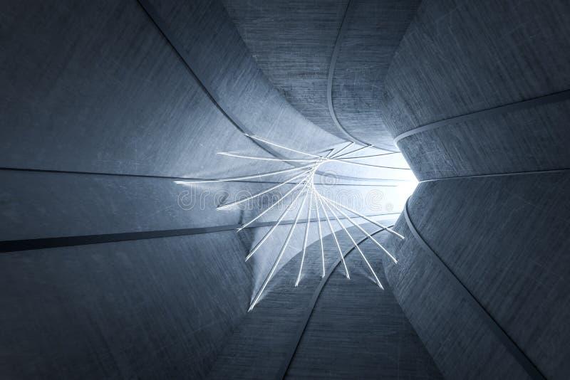 3d перевод, темный тоннель наук-небылицы, темная предпосылка иллюстрация вектора