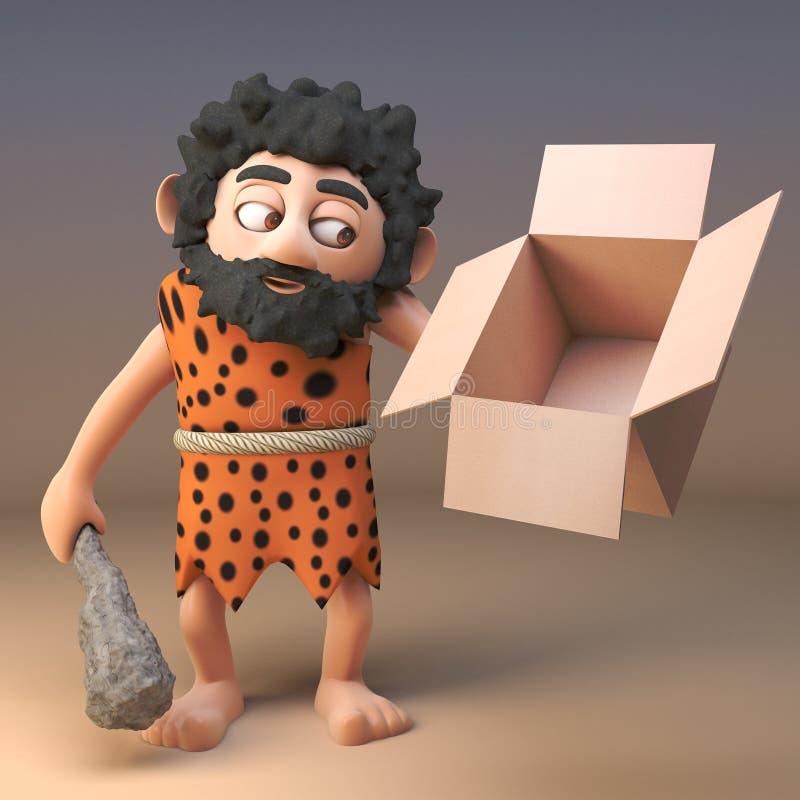3d-персонаж, смотрящий на пустой картонный картон, 3d-рисунок иллюстрация вектора