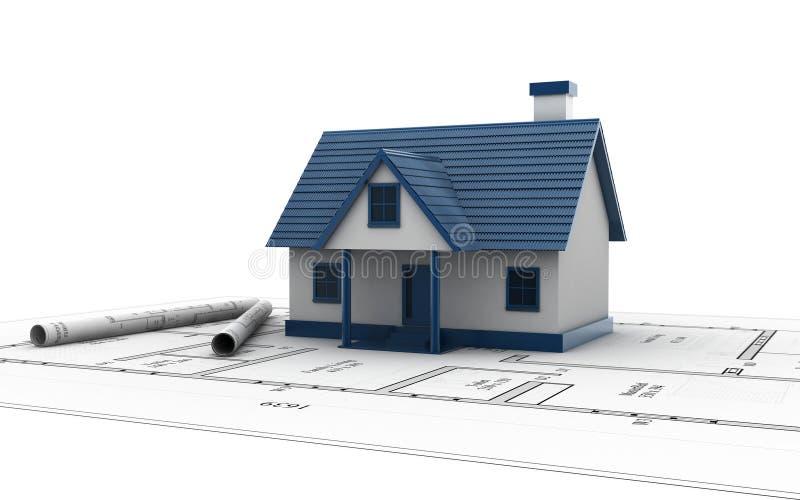 3d представило дом поверх светокопий архитектора на белой предпосылке иллюстрация вектора