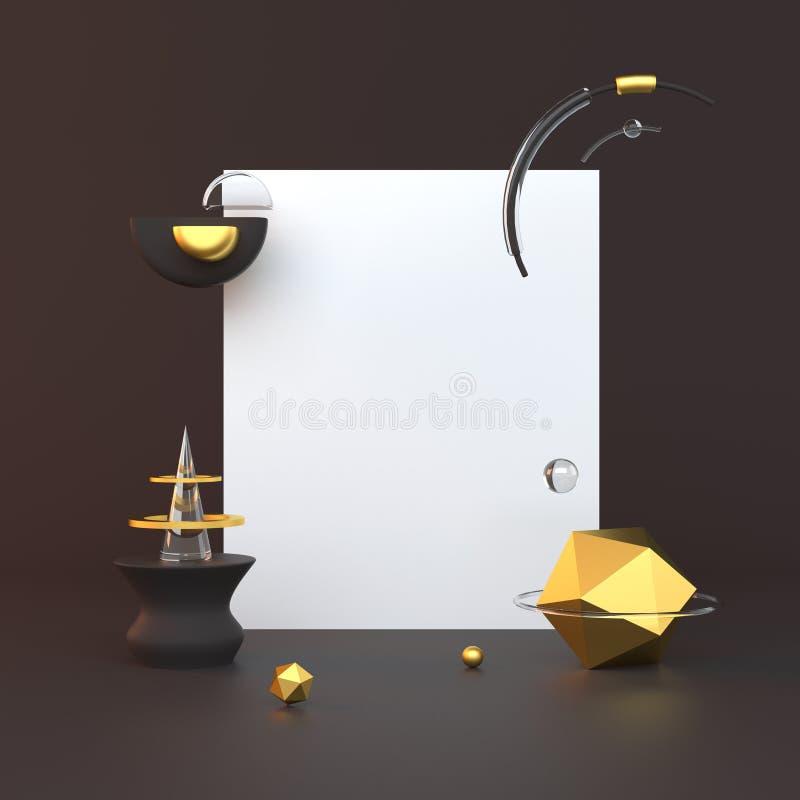 3d представило иллюстрацию с геометрическими формами черное золото Минималистский дизайн с пустым космосом иллюстрация вектора