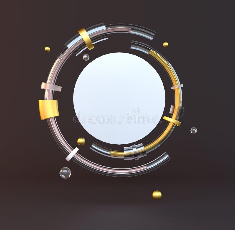 3d представило иллюстрацию с геометрическими формами черное золото Минималистский дизайн с пустым космосом бесплатная иллюстрация