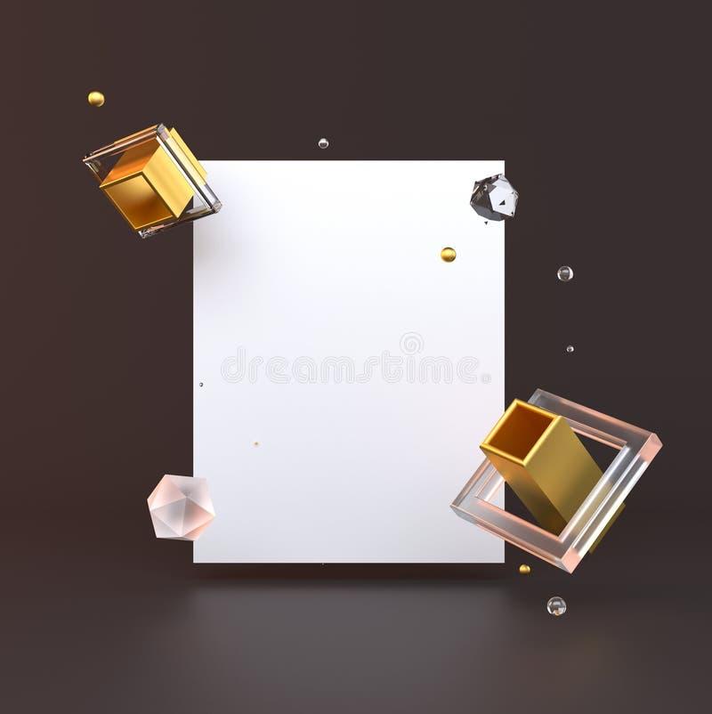 3d представило иллюстрацию с геометрическими формами черное золото Минималистский дизайн с пустым космосом иллюстрация штока