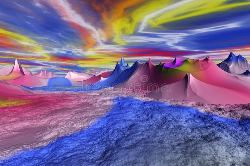 3D представило иллюстрацию чужеземца Worldr иллюстрация штока