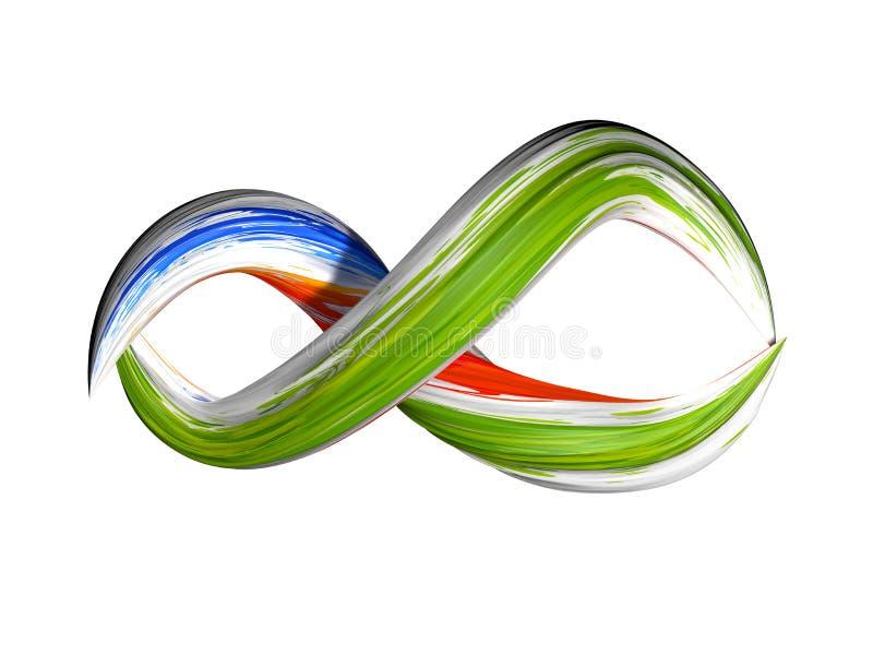 3d представляют, абстрактная предпосылка, современная изогнутая форма, петля, красочные линии, неоновое свето, цвета конфеты gree иллюстрация вектора