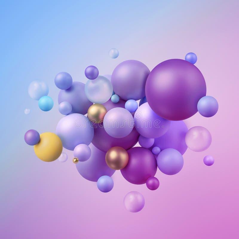 3d представляют, абстрактные шарики, пастельные воздушные шары, геометрическая предпосылка, пестротканые примитивные формы, minim иллюстрация вектора