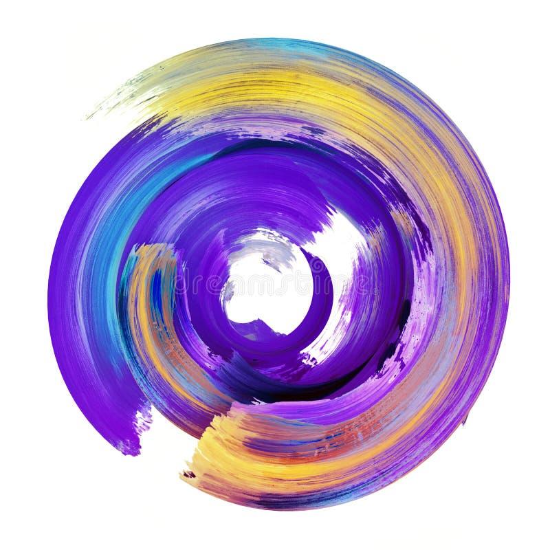 3d представляют, абстрактный круглый ход щетки, фиолетовый желтый выпл иллюстрация штока