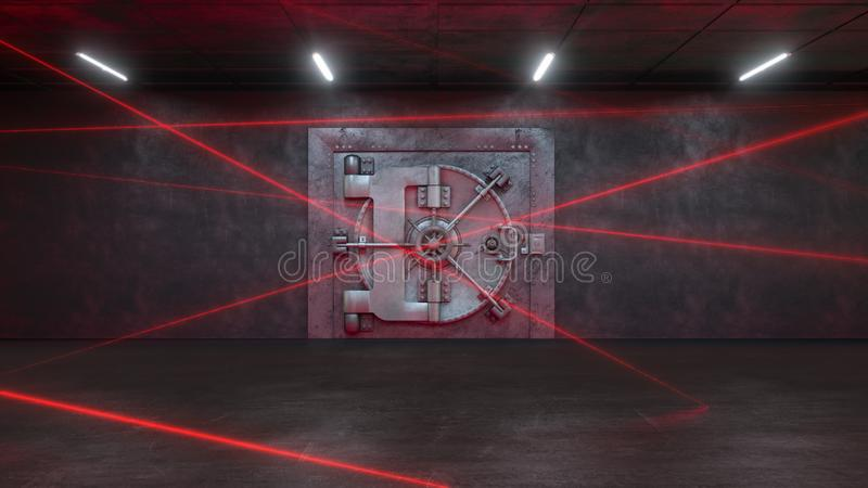 3d представляют банк защищены системой лазера иллюстрация вектора