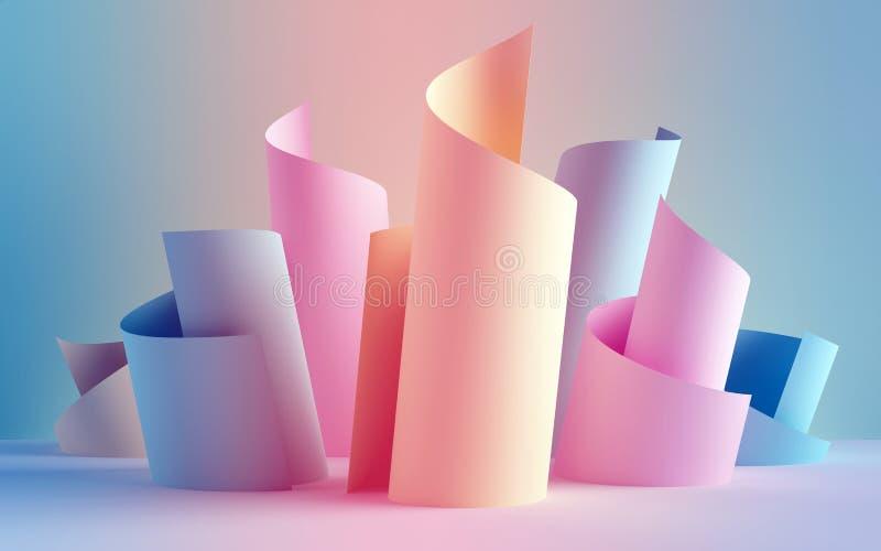 3d представляют, бумажные крены ленты, абстрактные формы, предпосылка моды, свирль, пастельные неоновые перечени, скручиваемость, иллюстрация штока