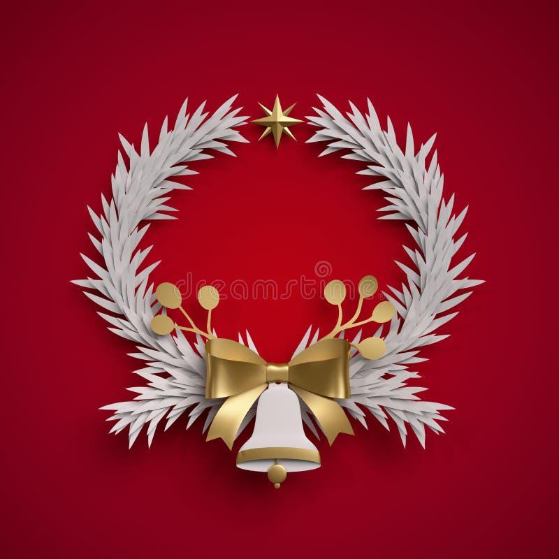 3d представляют, венок рождества круглый, колокол, праздничный орнамент, иллюстрация штока