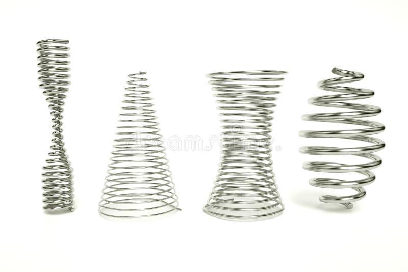 3d представляют весны бочонка, сплющенный весны, весна clepsydra Установите реалистических пружин сжатия металла изолированных на иллюстрация штока