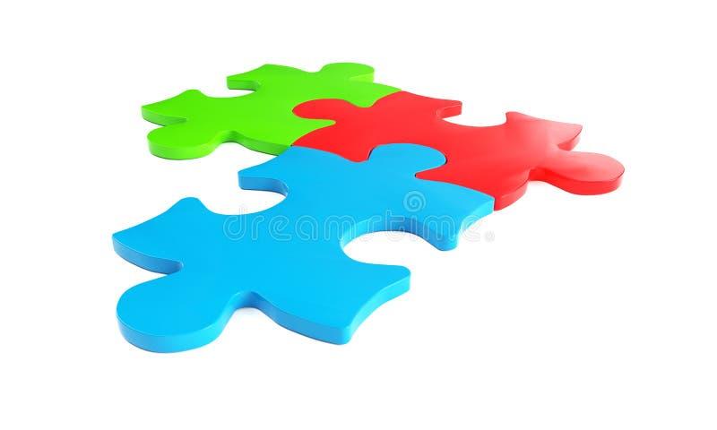 3D представляют головоломки в белой предпосылке иллюстрация вектора