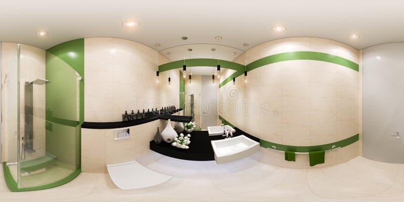 3d представляют дизайн интерьера панорамы ванной комнаты в современном стиле иллюстрация штока