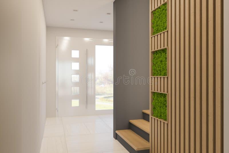 3d представляют дизайн интерьера фойе в частном загородном доме иллюстрация вектора