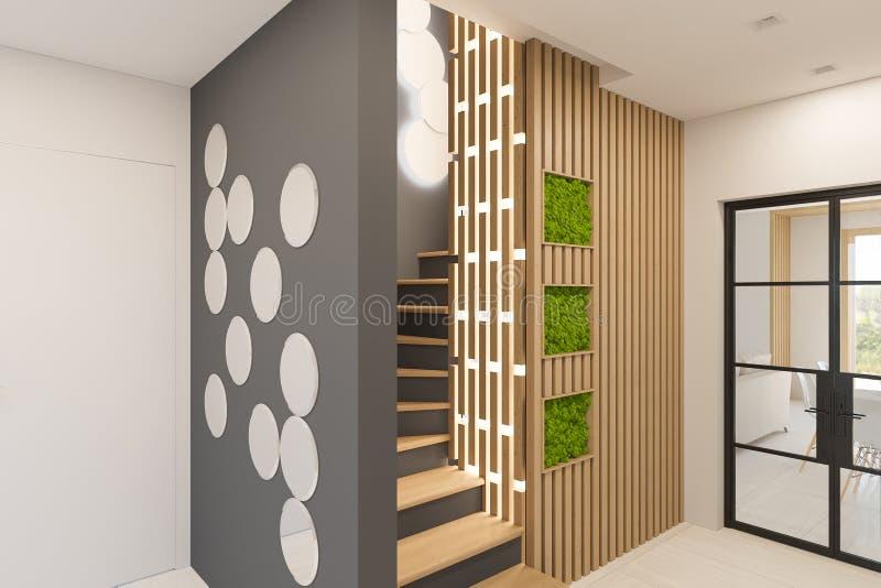 3d представляют дизайн интерьера фойе в частном загородном доме бесплатная иллюстрация