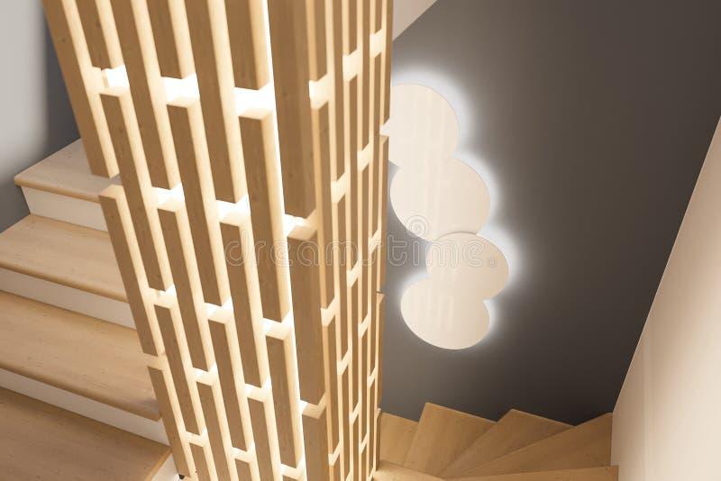 3d представляют дизайн интерьера фойе в частном загородном доме иллюстрация штока