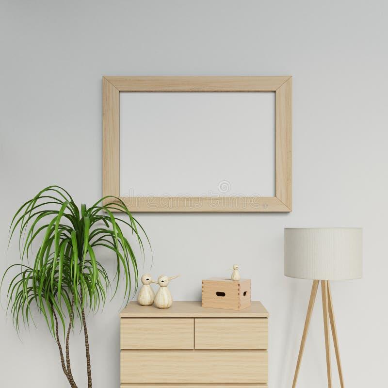 3d представляют дизайн модель-макета плаката размера a1 современного дома внутренний с горизонтальной рамкой вися на белой стене  бесплатная иллюстрация