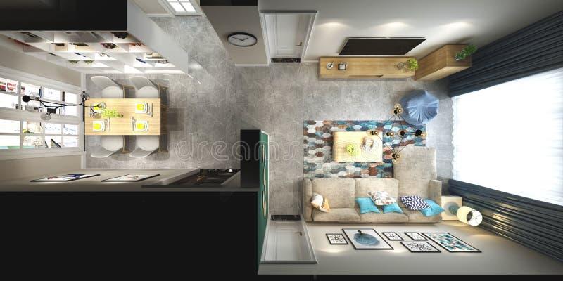 3d представляют домашнего интерьера иллюстрация штока