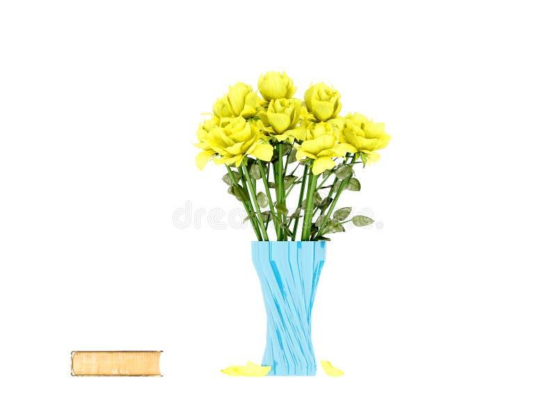 3d представляют желтых роз в вазе иллюстрация штока