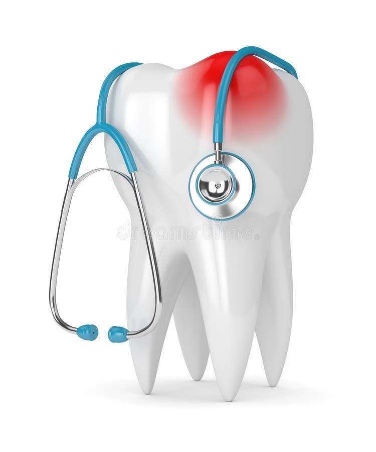 3d представляют зуба с стетоскопом над белизной иллюстрация штока