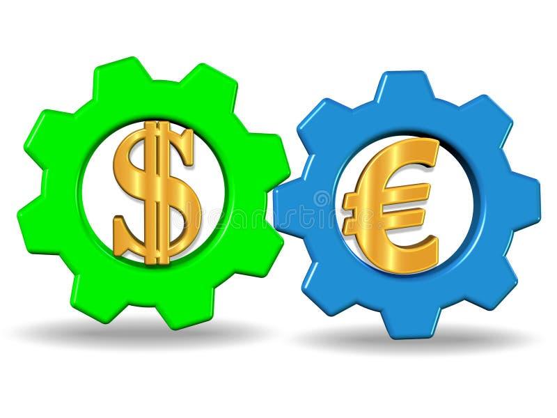 3D представляют иллюстрацию системы 2 колес шестерни с знаками доллара и евро, фото запаса бесплатная иллюстрация