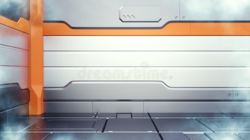 3d представляют интерьера коридора фермы замораживателя научной фантастики криогенного иллюстрация вектора
