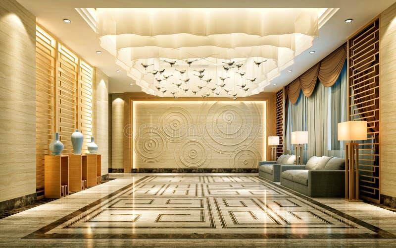 3d представляют интерьера роскошной гостиницы иллюстрация вектора
