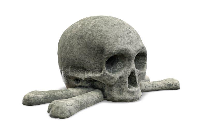 3D представляют каменного черепа и кости изолированного на белизне иллюстрация штока