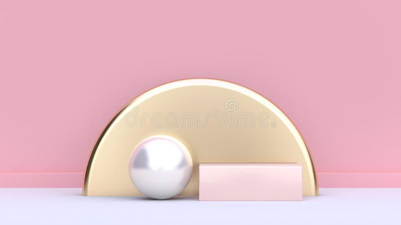 3d представляют квадрат золота сферы геометрической формы формы белый semi круг-круглый мягкий розовый иллюстрация вектора